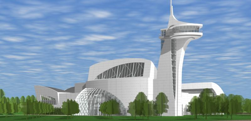 Artist rendering of Discovery Park of America's main building.