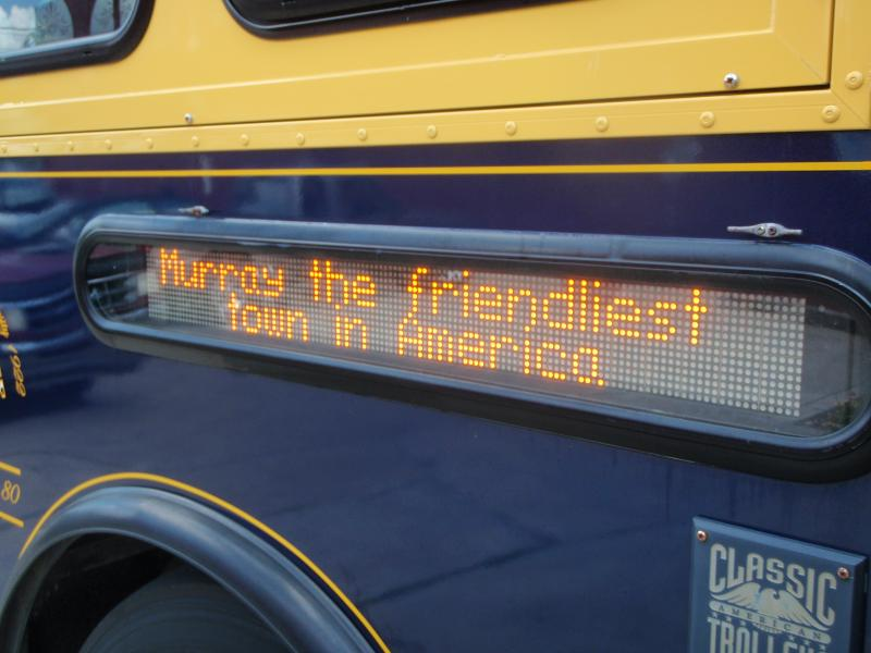 The side of the Murray Calloway County Transit trolley says it all.