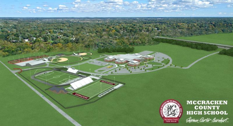 Pictured is an aerial rendering of the McCracken County consolidated high school.