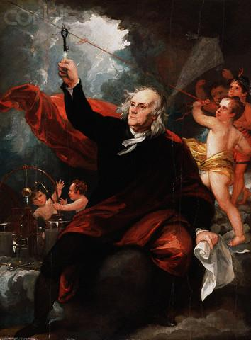 Benjamin Franklin Drawing Electricity from the Sky by Benjamin West, 1816