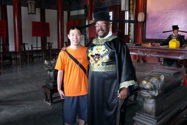 OK....dont laugh. I was in Keifeng China dressed as the famous law giver, Bao Gong. This is Mr. Qin our sponsor.