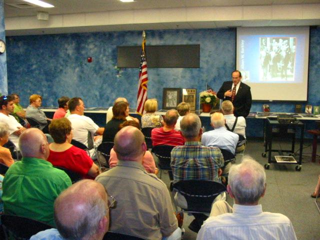 "Justice Shea Nickell presents ""Alben W. Barkley: In His Own Words"" at McCracken County Public LIbrary's ""Evenings Upstairs"" lecture program, July 19. Photo courtesy of Jay Hite, Tech Coordinator"