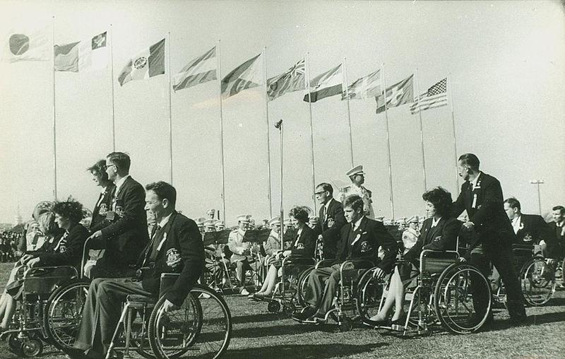 Members of the Australian Team march at the Opening Ceremony of the Tokyo 1964 Paralympic Summer Games.