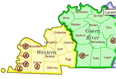 Six CountyWide Burn Bans Left In W Ky WKMS - Map of western kentucky