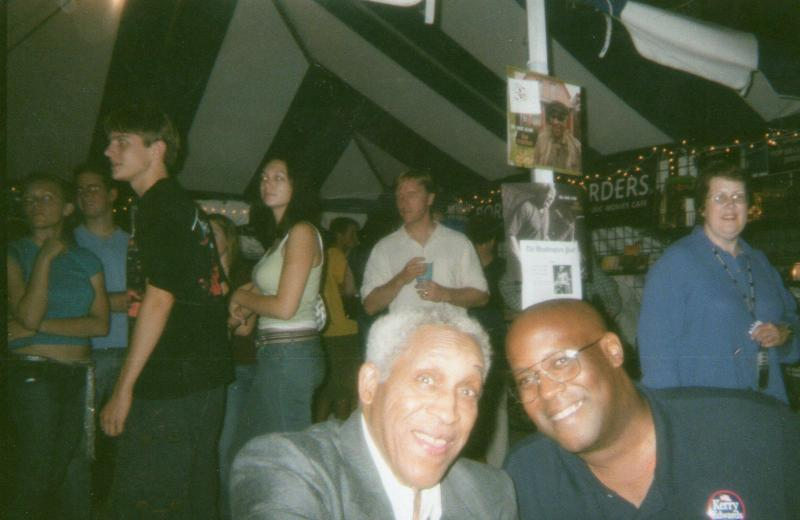 Dr. Brian Clardy with Von Freeman at the 2004 Chicago Jazz Festival