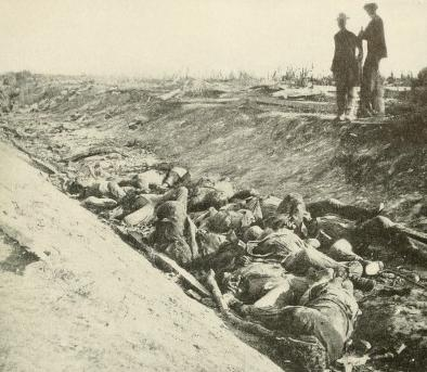 "Dead Confederate soldiers from Maj. Gen. D.H. Hill's division in what became known as ""The Bloody Lane."""