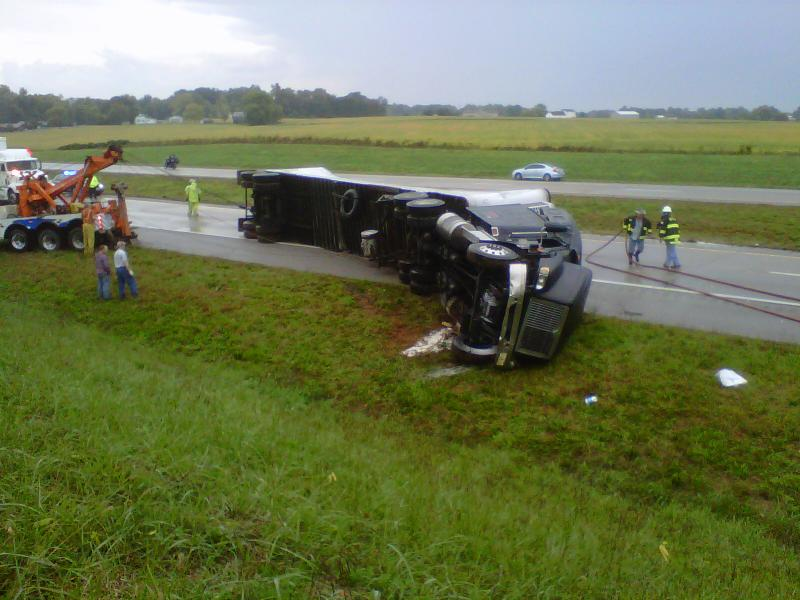 Semi wreck near the 72 mile marker on I-24 in Christian County
