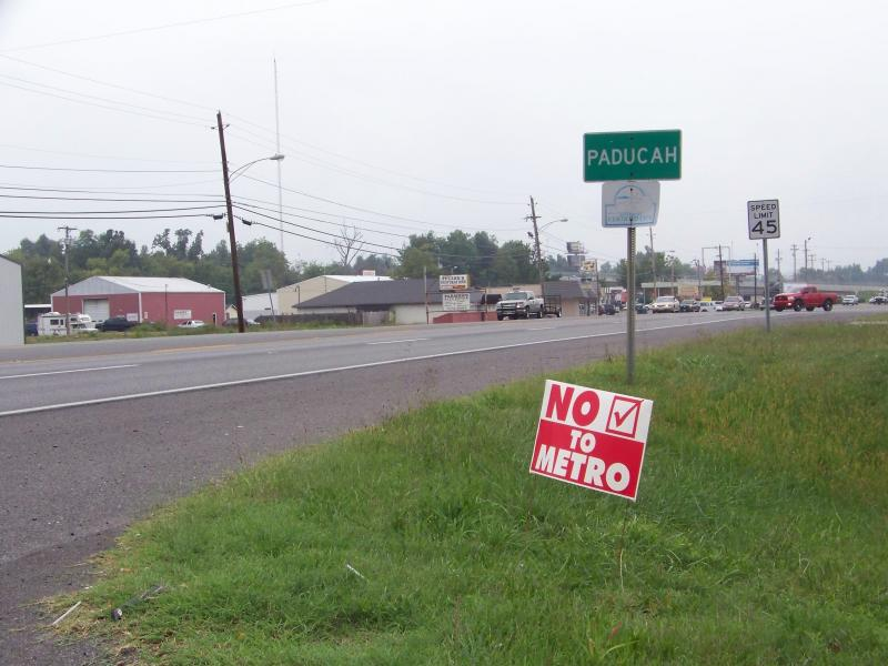 Example of an illegal right of way sign.