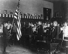 Students pledge to the flag, 1899.