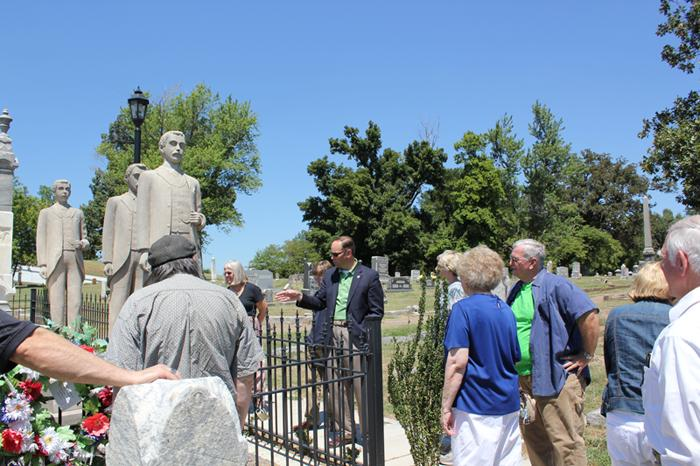 Chris Wooldridge at the Wooldridge Monuments with Members of Jackson Purchase Historical Society