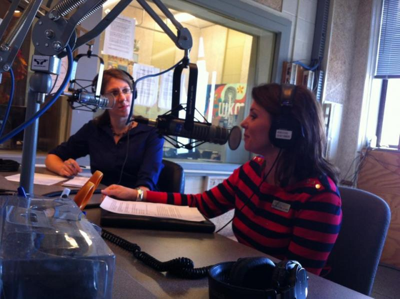 Angela Hatton, left, interviews KTRA Executive Director Hollie Holt.
