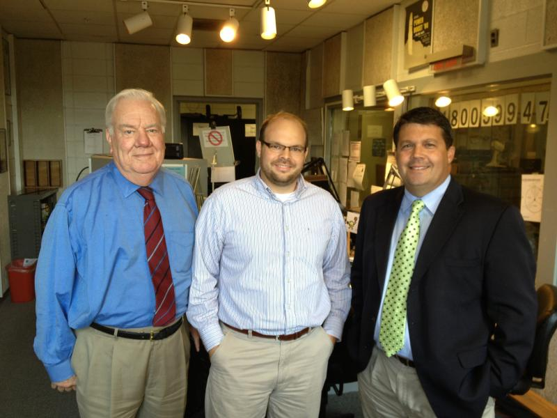 First District State Senate Candidates: Carroll Hubbard (D) left, Stan Humphries (R) right, center Chad Lampe, moderator and WKMS News Director and Assistant Station Manager