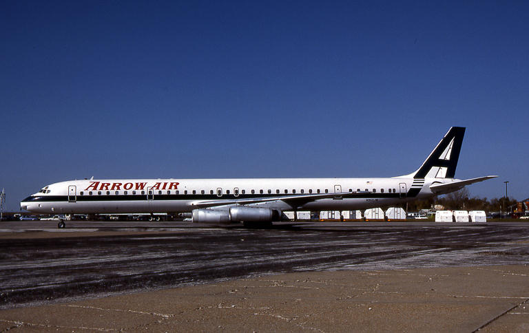 This photo of the Arrow Air Flight 1285 DC-8 was taken in St. Louis, MO on Dec. 5th, 1985, seven days before it crashed in Newfoundland, killing all aboard.