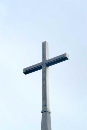 """The """"Cross of Sacrifice"""" located near The Silent Witness Memorial in Gander, NL.  The cross was crafted from the remains of the DC-8's emergency exit door.  It is inscribed with the motto of the 101st, """"Rendezvous with Destiny."""""""
