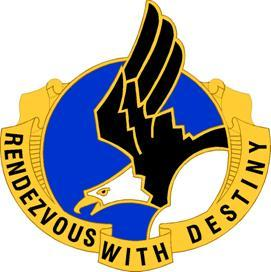 "The Distinctive Unit Insignia of the 101st Airborne Div. (Air Assault) featuring the division's motto, ""Rendezvous with Destiny."""