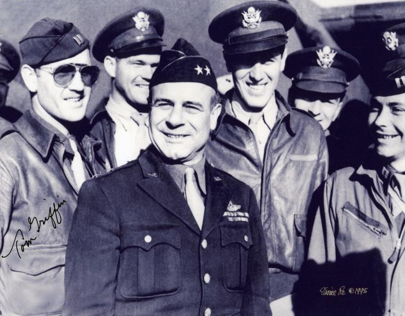 Griffin ( at left, in sunglasses) among those posing with Maj. Gen. James H. Doolittle