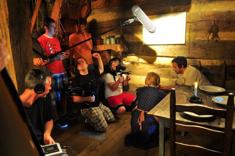 Filming a Scene, Mullins Log Cabin
