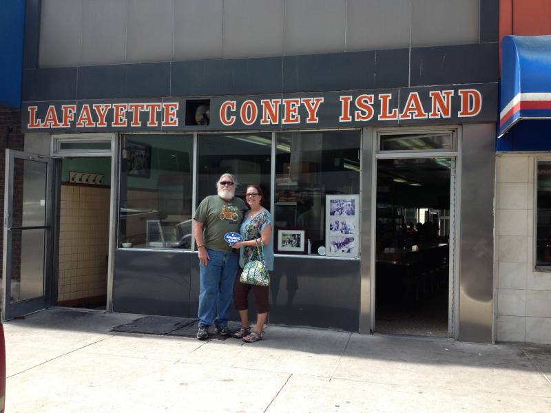 "Don & Robin Oakley of Cadiz says WKMS ""Sounds Good"" at Lafayette's Coney Island in Detroit!"