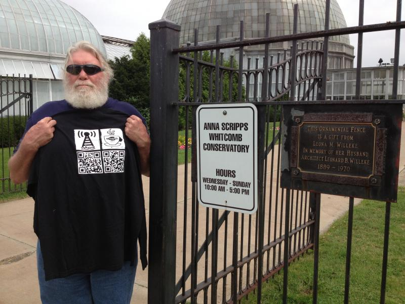 Don Oakley of Cadiz represents WKMS at Anna Scripps Whitcomb Conservatory in Belle Isle, in Detroit!