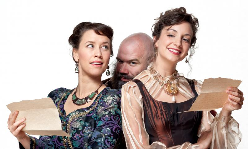 Bridget Rue as Mistress Page, Rick Blunt as Falstaff, and Stephanie Holladay Earl as Mistress Ford in The Merry Wives of Windsor.