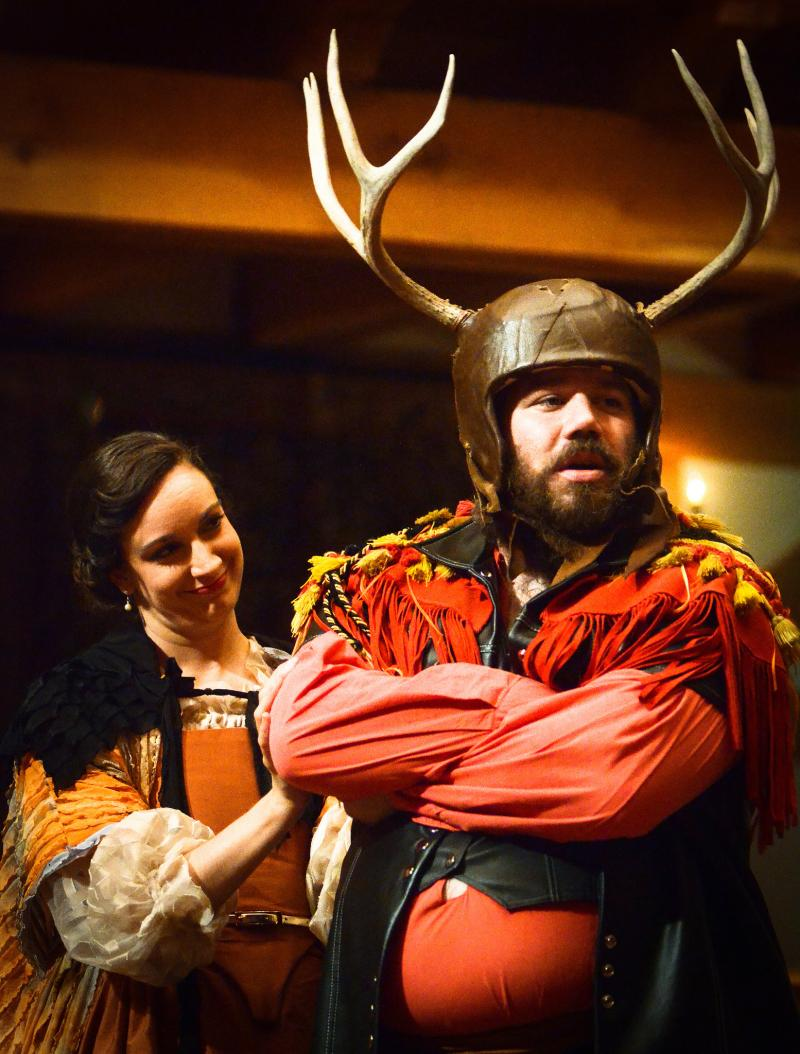 Stephanie Holladay Earl as Mistress Ford and Rick Blunt as Falstaff in The Merry Wives of Windsor.