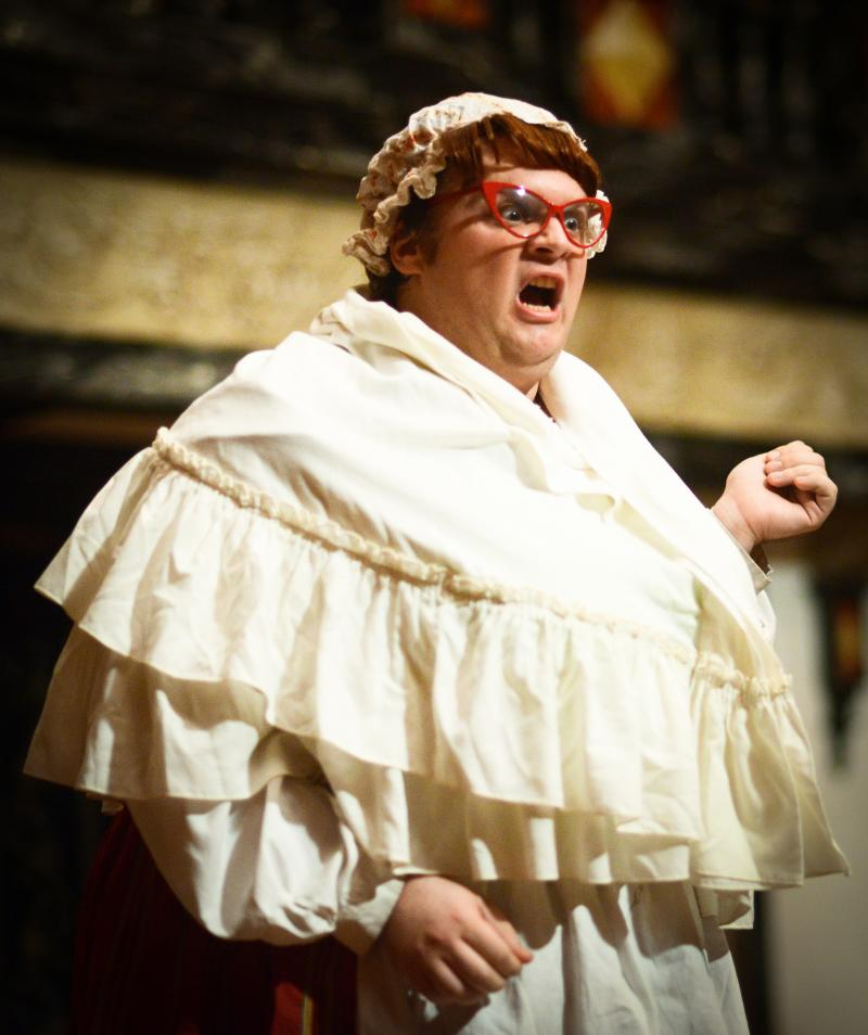 Russell Daniels as Mistress Quickly in The Merry Wives of Windsor.