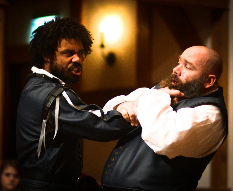 Fernando Lamberty as Othello and Rick Blunt as Iago in Othello.