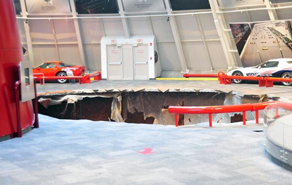 A 40-foot wide sinkhole opened up early Wednesday morning at the National Corvette Museum.