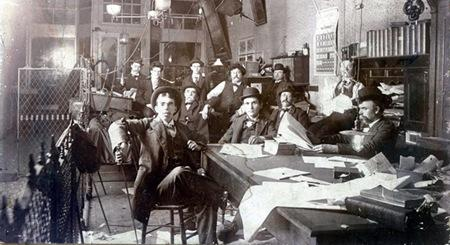 Budding Paducah Evening News reporter Irvin Cobb c. 1895 (seated left front, with poker).