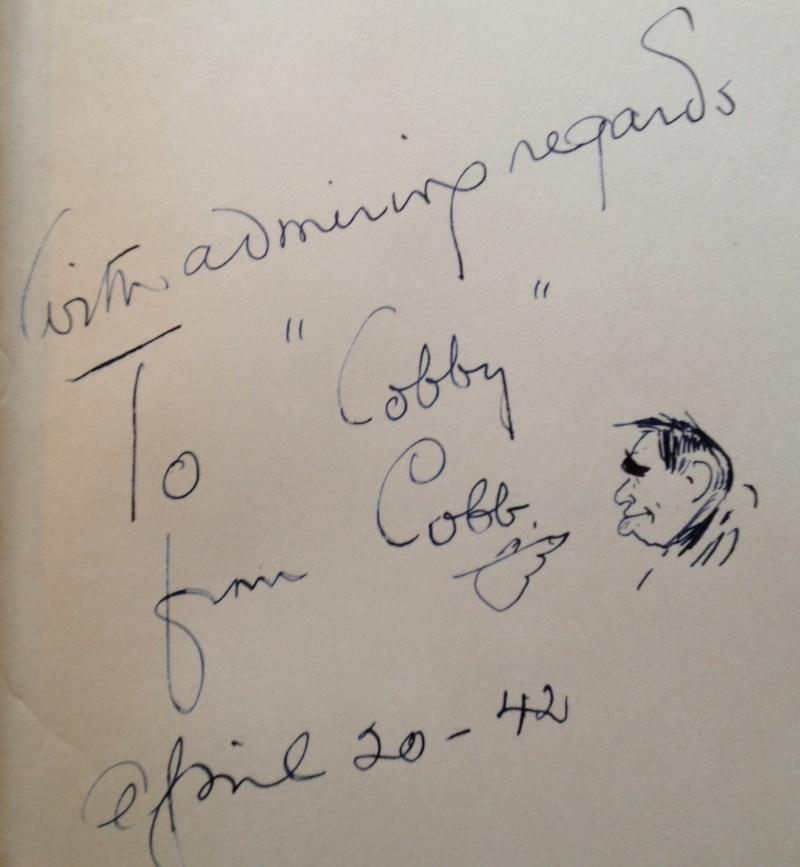 "Detail of frontispiece from Cobb's autobiography ""Exit Laughing,"" dedicating the copy to his grandson."