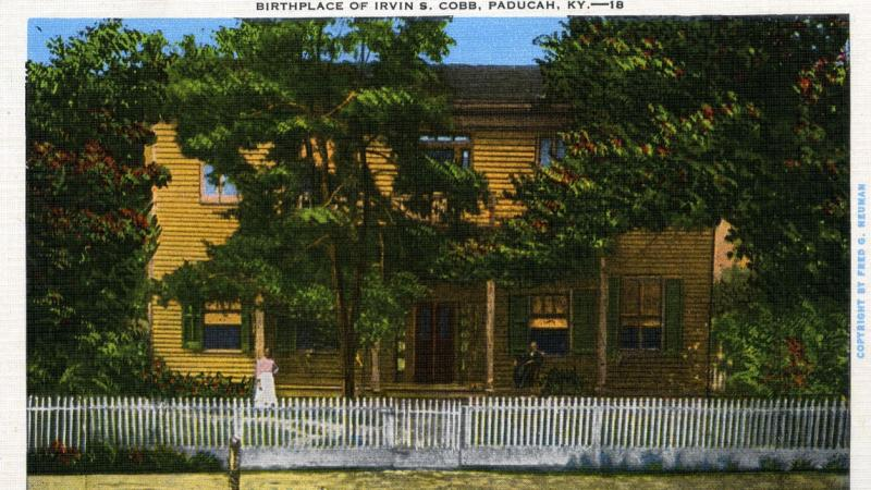 Hand colored postcard showing Cobb's birthplace. House was torn down in 1917. Paducah's USPS processing center stands at the site.