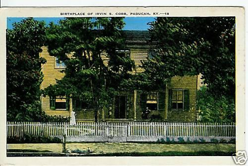 A hand-colored postcard of Cobb's birthplace on 3rd St. in Paducah.