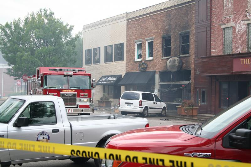 The burned downtown buildings as of this afternoon.