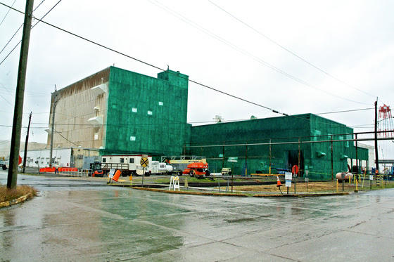The C-410 building was covered in a protective fixative before demolition began.