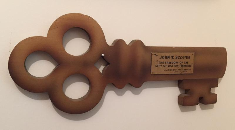 "The City of Dayton marked the premier of Inherit the Wind with a ""John T. Scopes Day.""  The festivities included a parade and a ceremony where Scopes received this key to the city."
