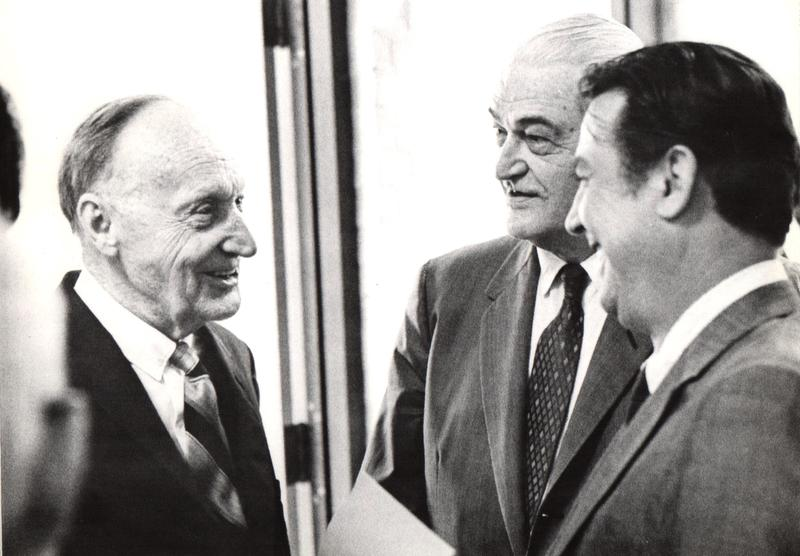 On April 1st, 1970, John Scopes gave a lecture at Nashville's Peabody College (now part of Vanderbilt Univ.).  Here he speaks with TN state legislators Harold Bradley (center) and Charles Galbreath (right), who were key in repealing the 1925 Butler Act.