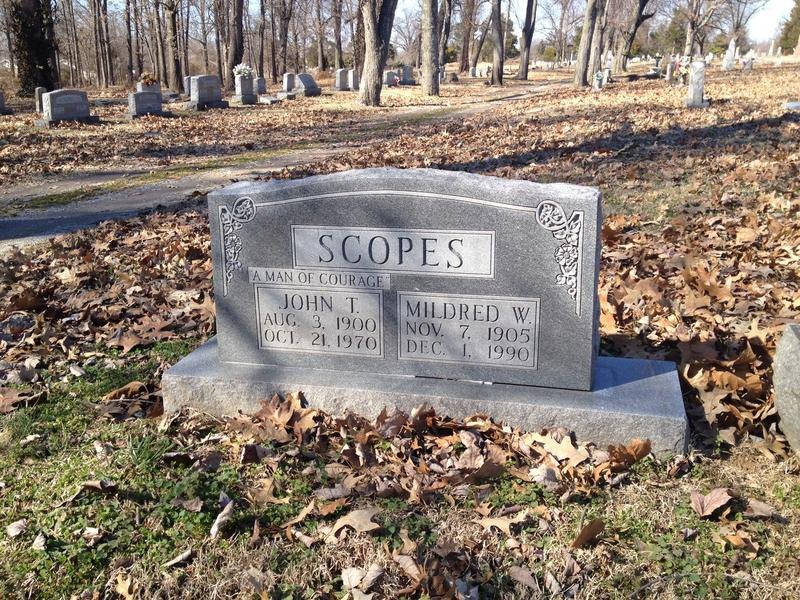 John Thomas Scopes died on Oct. 21, 1970 and was laid to rest days later in Paducah's Oak Grove Cemetery in a plot next to his parents.  His wife Mildred joined him December 1, 1990.