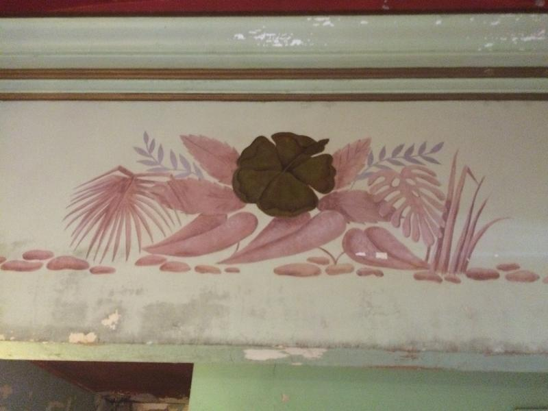 Floral designs on the second floor wall