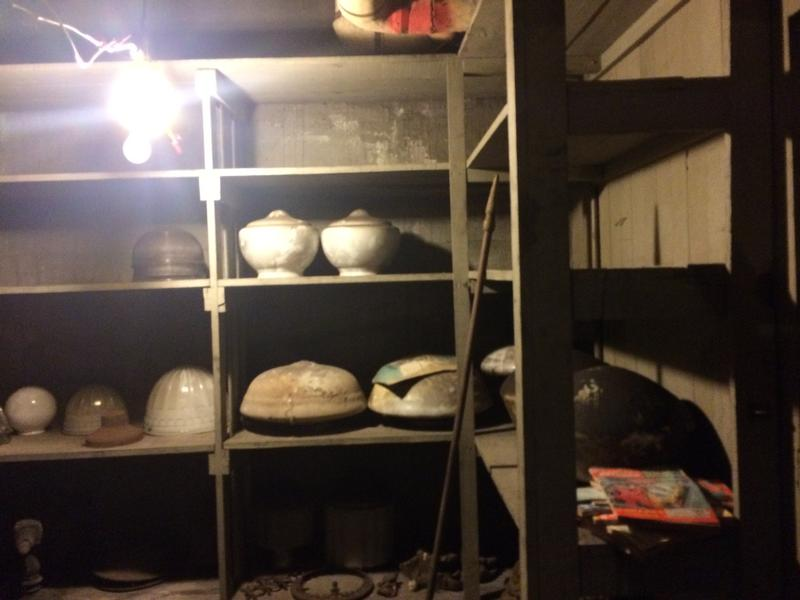 Lights on the shelves in the basement