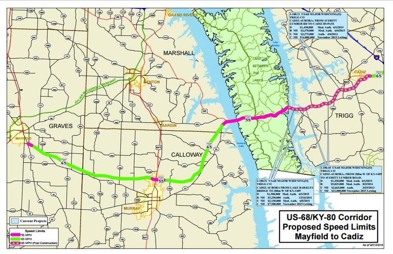Beshear Announces MPH FourLane Highway From Bowling Green - Map of speed limits in us