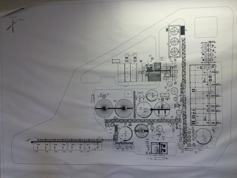 Blueprints of a facility built by a French company called Violia. Violia was contracted by Antero Resources to design a facility that could manage the specific chemical profile of wastewater produced in the Appalachian shale gas region. The facility will