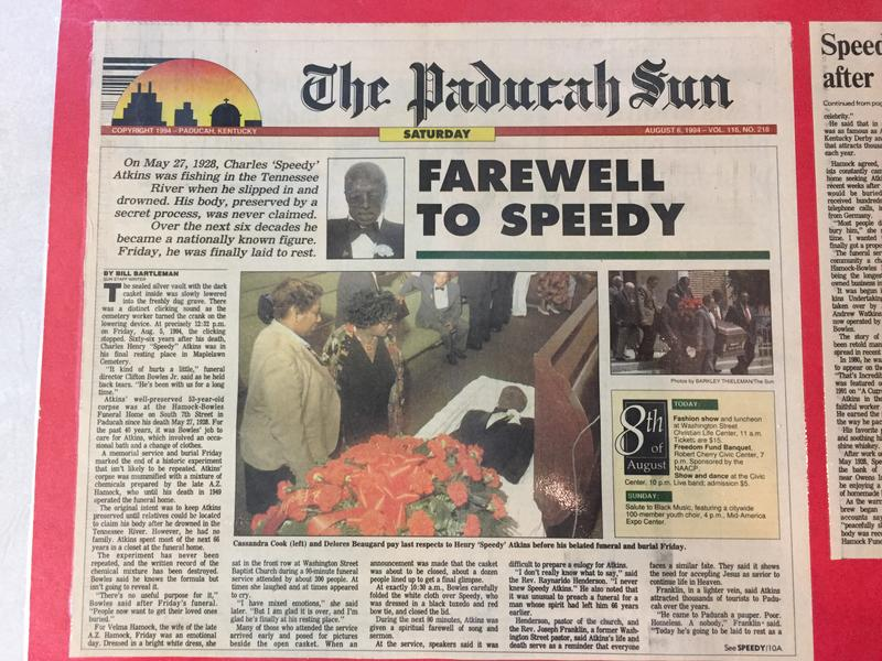 Atkins' 1994 front page obituary.