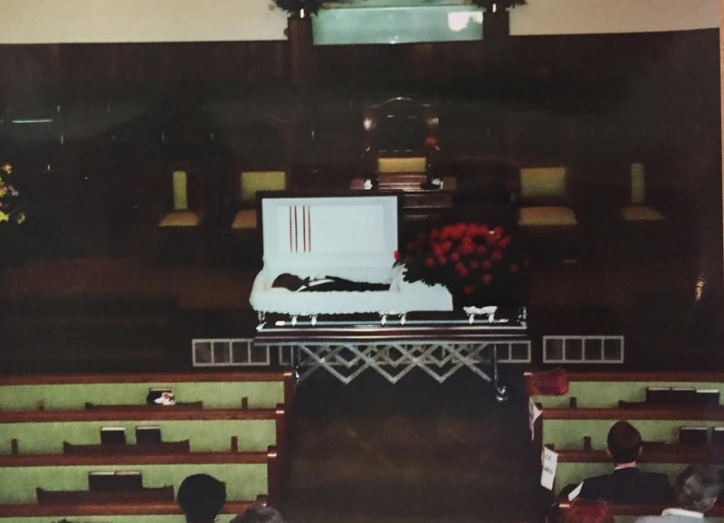 "Charles ""Speedy"" Atkins in his casket at his Aug. 5, 1994 memorial service at Washington St. Baptist Church."