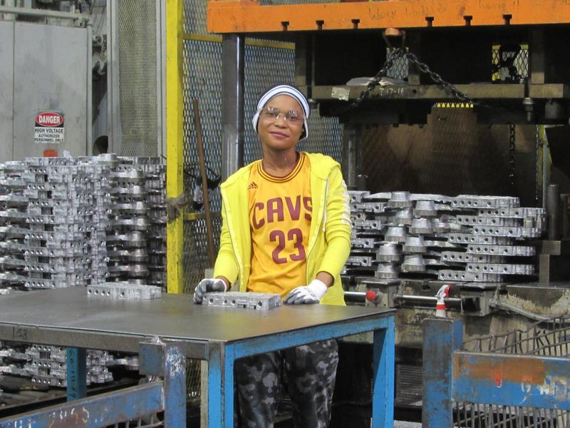20-year-old Matisho Mateso is from Tanzania. In addition to working full-time at Trace Die Cast, she takes classes at Southern Kentucky Community and Technical College.