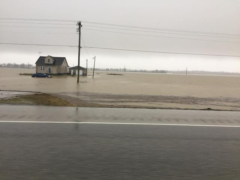 Flooding in Daviess County, Kentucky has turned many fields into lakes.