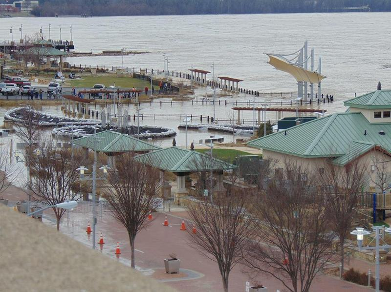 The rising Ohio River has left much of Smothers Park along the Owensboro riverfront under water. County officials say the park has been designed to withstand flooding.