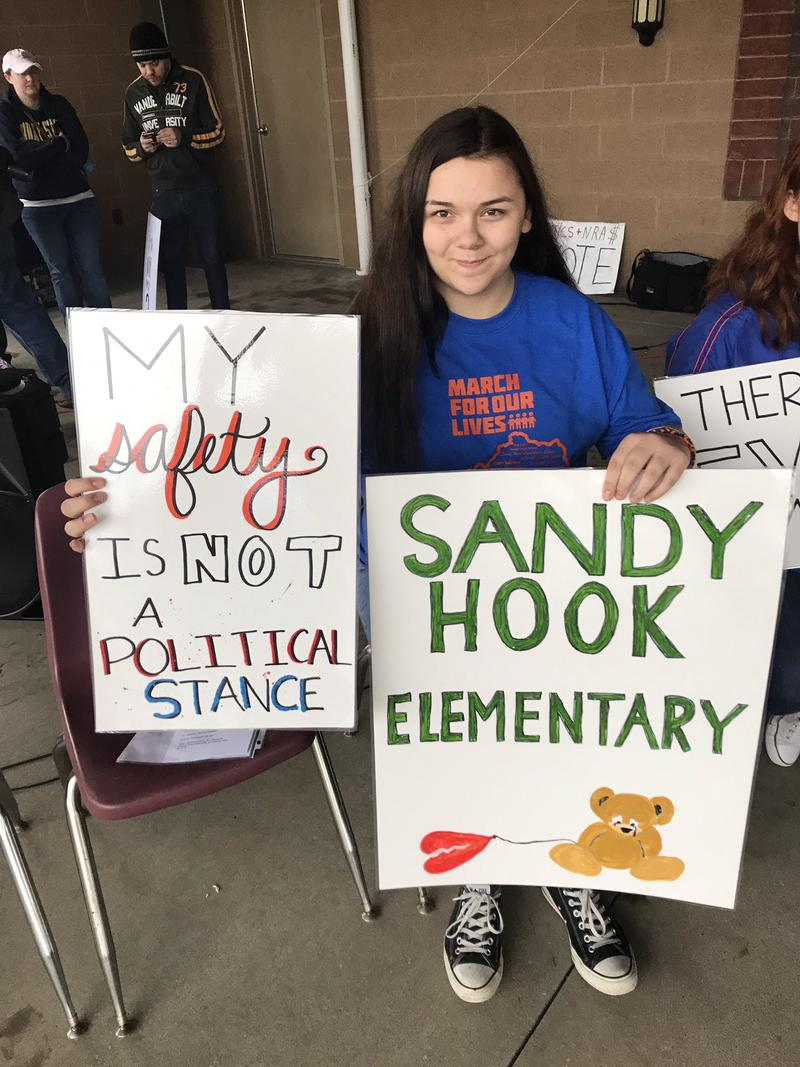 """""""We live in a country that loves guns more than their own children."""" --Cloi Henke, Marshall County High School student"""