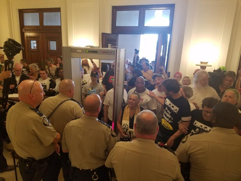 State troopers only allowed two members of the Poor People's Campaign to enter the Capitol at a time after a series of recent protests in Frankfort, Ky.