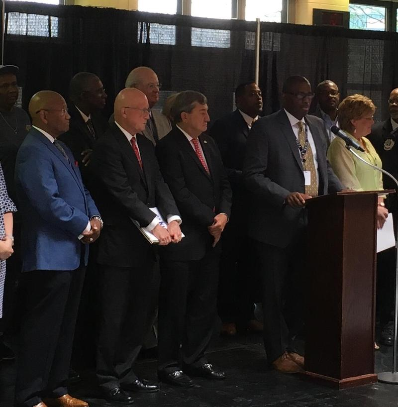 Fayette Schools Manny Caulk and business leaders announce safety plan Monday.
