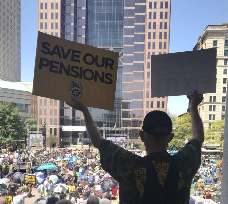 A union miner at the rally for pension protection in Ohio.